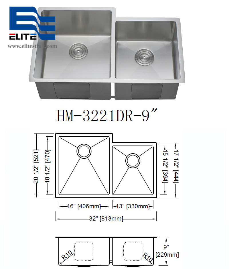 18 gauge Stainless Steel Undermount Double Sink 32 X 21