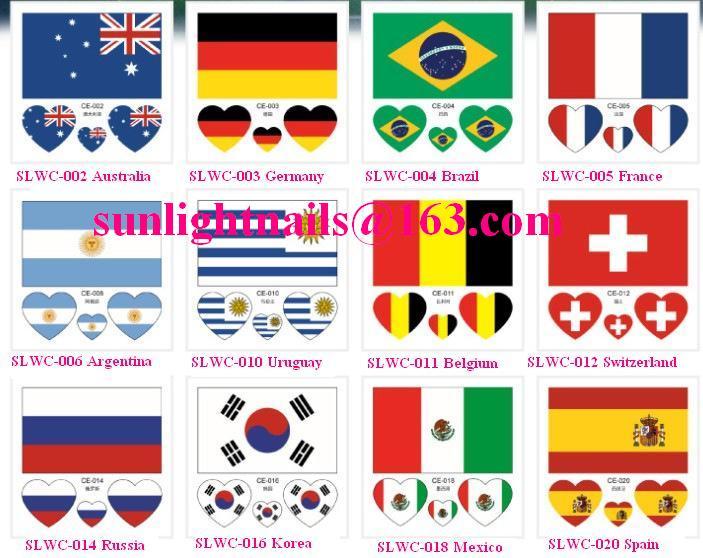 Tattoo Sticker Waterproof 3d Flower Face World Cup Flag Creative Custom