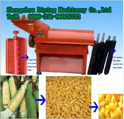 electric or diesel 1500kg/h Corn maize Peeling and threshing Machine