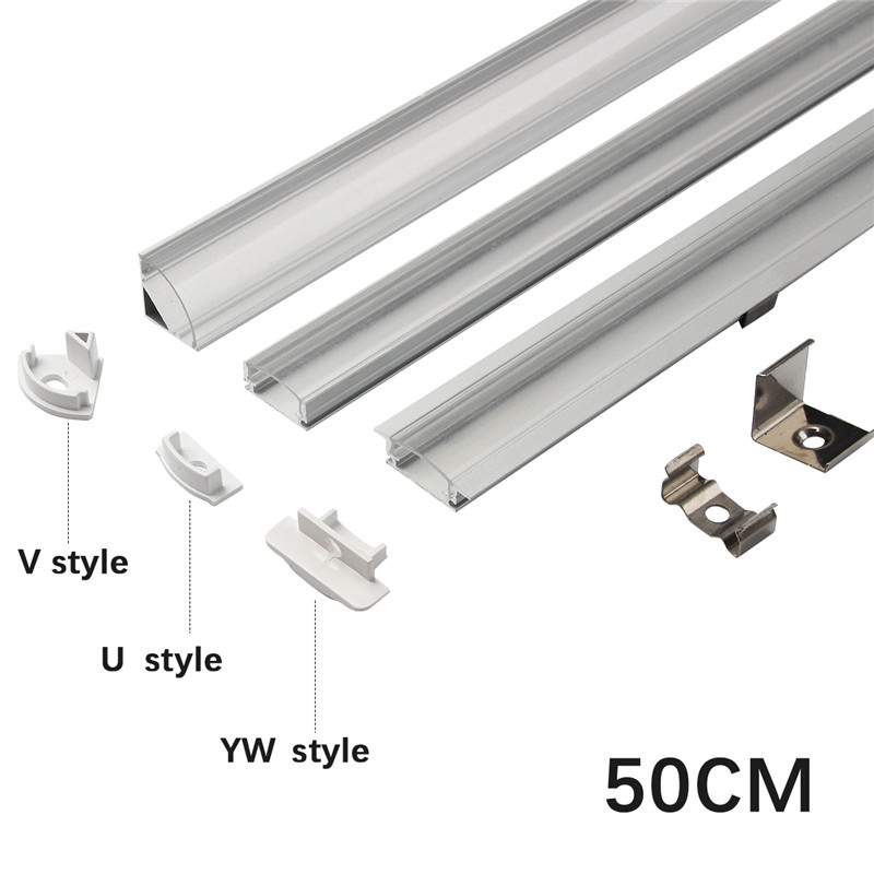 1set 50cm LED Bar Lights Aluminium Profile Transparent Cover U/V/YW Style Shaped for LED Strip Light