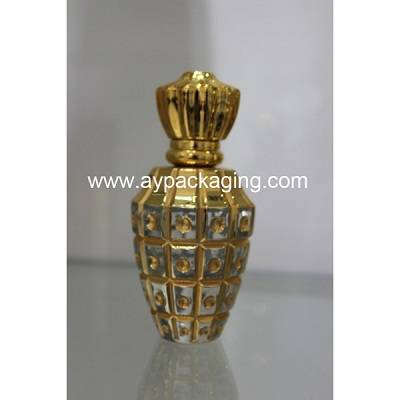 EAU DE PARFUM empty glass bottle with gold cap
