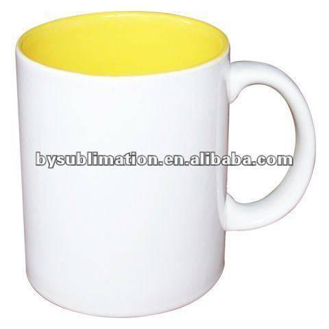 sublimación en blanco de cerámica de dos tonos de color amarillo taza D8.2cm * H9.5cm