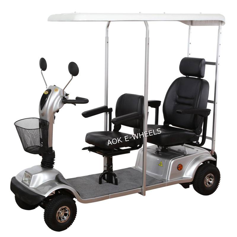 Two Seat Electric Mobility Scooter for Passanger with Weather Cover (MS-008)