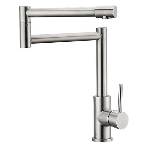 Fold rotation hot and cold drawing single handle kitchen faucet