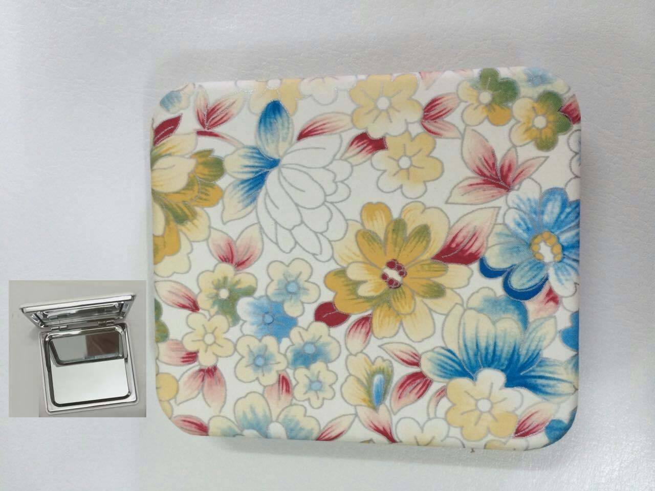 PU Colorful Flowers Printing Compact Mirror LFM6236