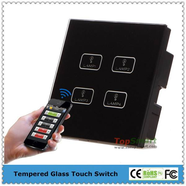 UK Standard Wifi Mobile APP Remote Control Toughened Glass Panel Light Touch Switch