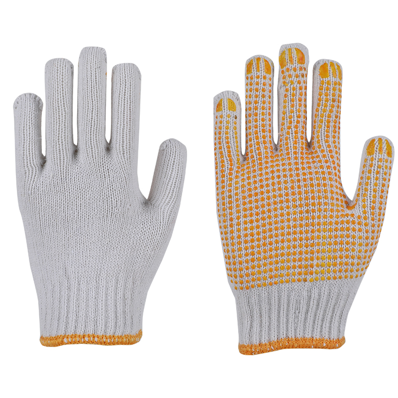 10guage natural white pvc dotted gloves