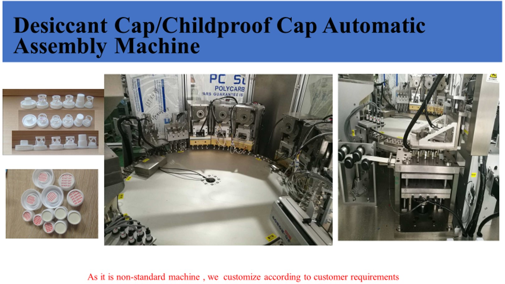Child Resistant Closure Caps Desiccant Insert And Lining Assembly Machine