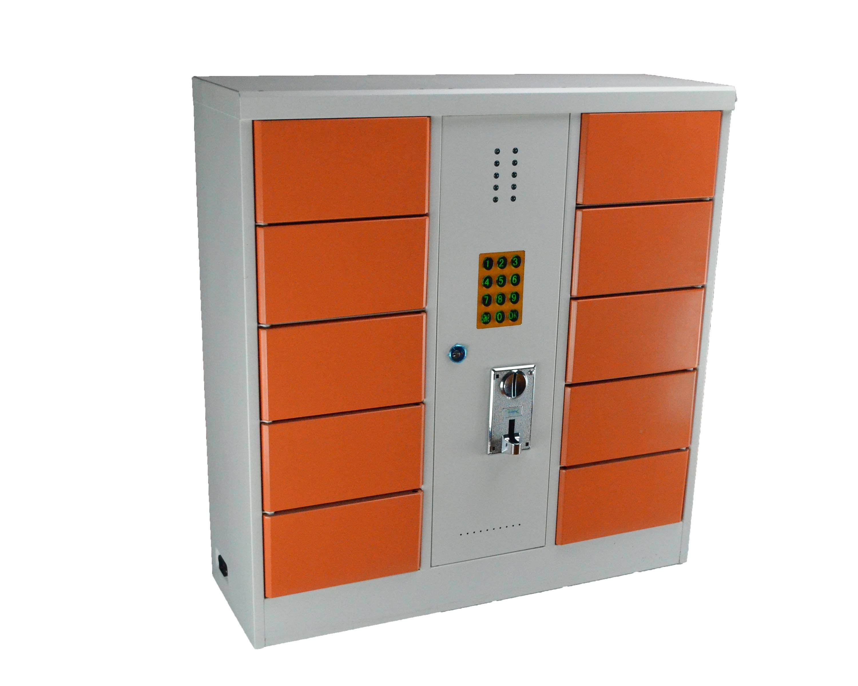 10-bay coin-operated phone/tablet charging station/locker