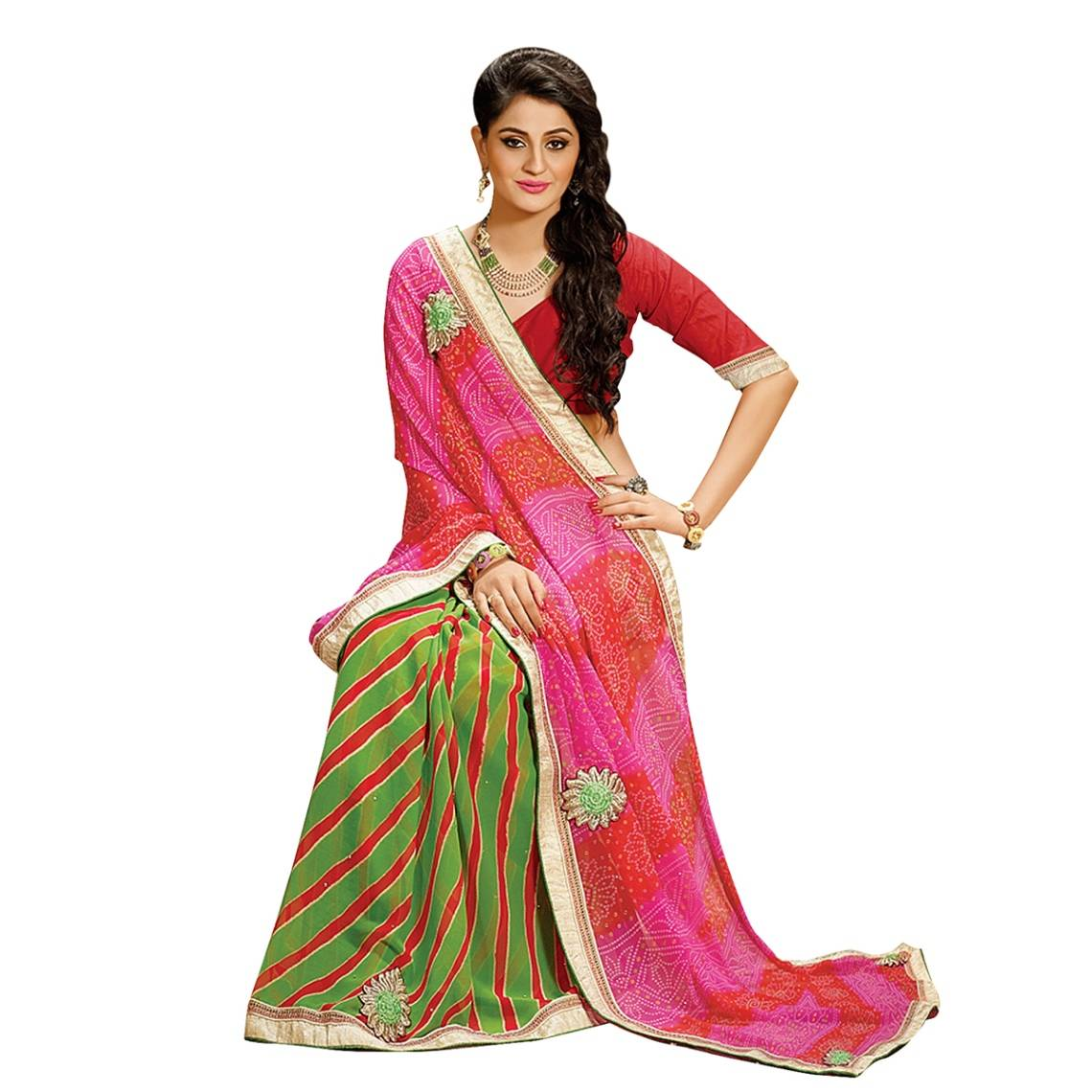 Shonaya Multicolour  Georgette Patch work Sarees With Blouse PieceSGLHR-4834