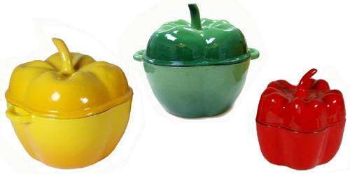 6-piece Enamel Cast Iron 3 Colors Pepper Set