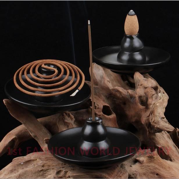 Multipurpose Ceramic Incense Burner Bottle Gourd Shaped Incense Holder Smoke Backflow Aroma Furnace