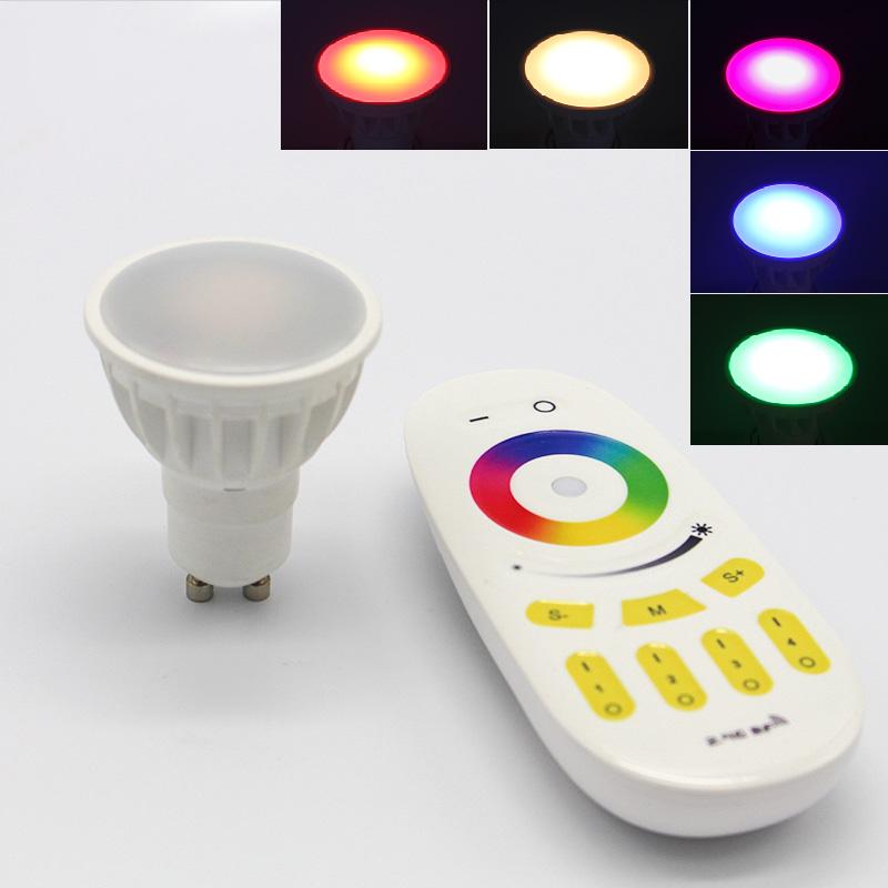 GU5.3 E27 E26 rechangable color, dimmable gledopto 2.4G IP65 4W RGBW LED MR16 bulb