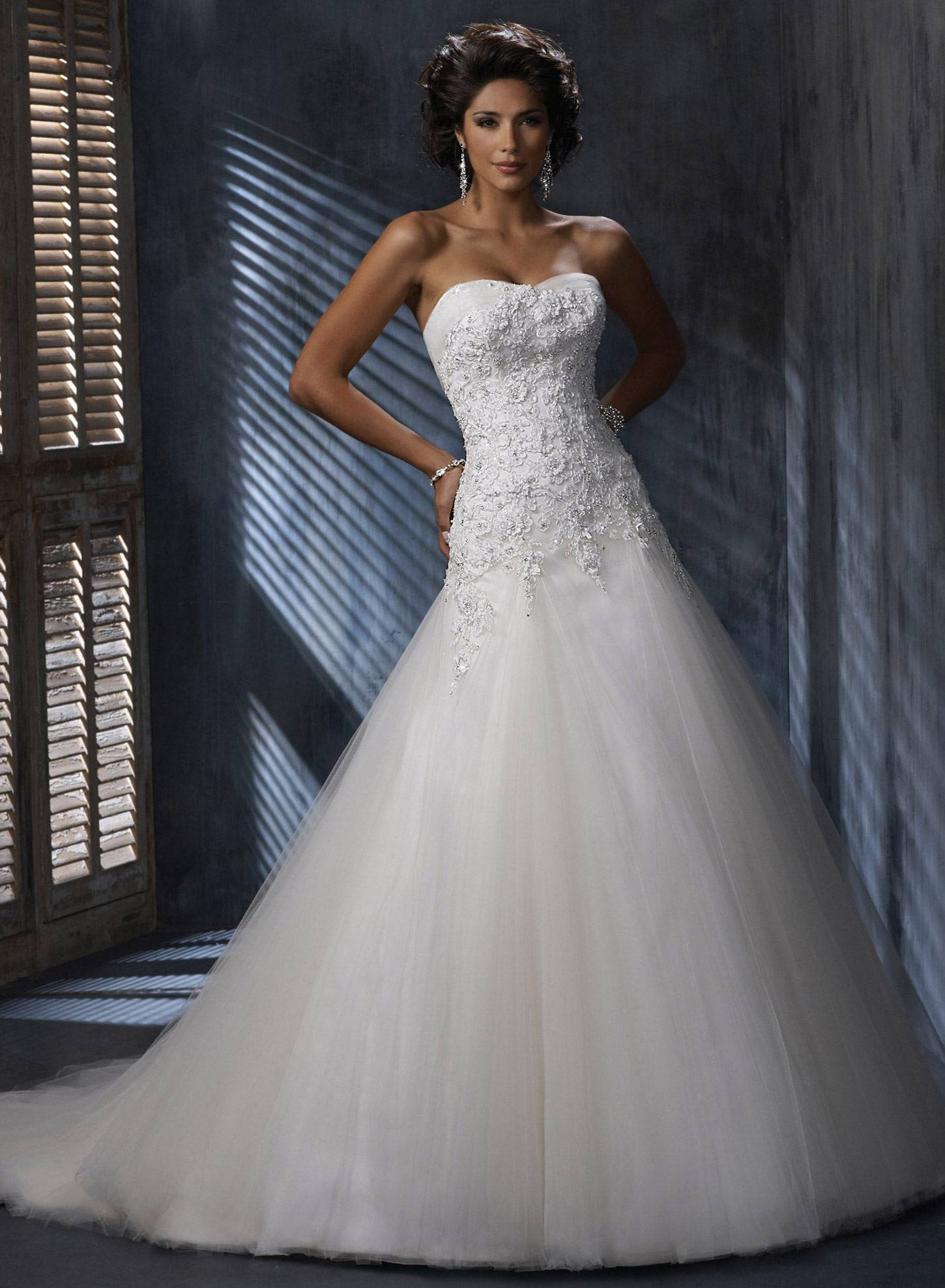 2014 Top Quality New Custom Made White Satin Tulle Applique Beading Sequin Strapless Wedding Dress