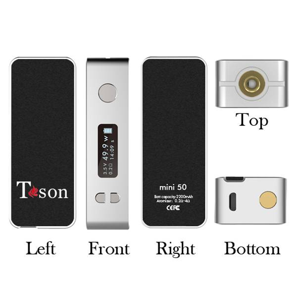 E-cigarette Mini 50W box mod 0.1ohm 50w