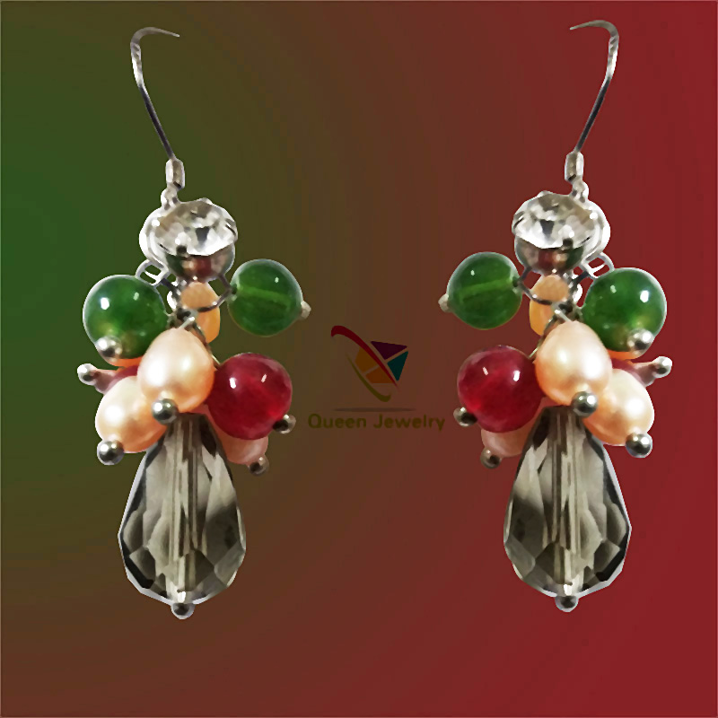 mona lisa earring green jade red Gemstone with Pearl Earrings Silver women jewelry
