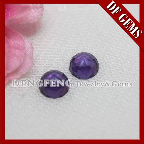 Synthetic amethyst faceted cut round cz gem precious stone