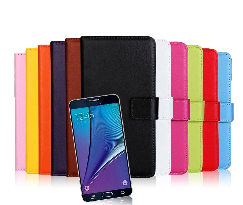 Real Genuine Wallet Leather Case Flip Stand Cover For Galaxy Note 5 SGN5C22