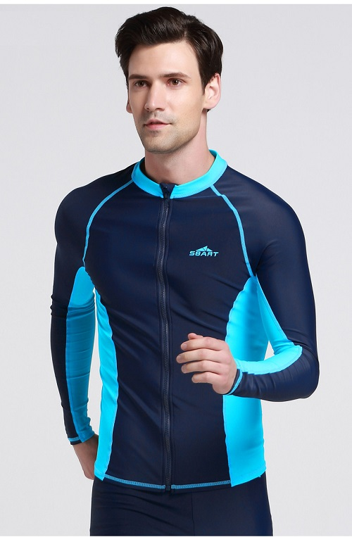 Mens Long Sleeve Zip Front Rash Guard