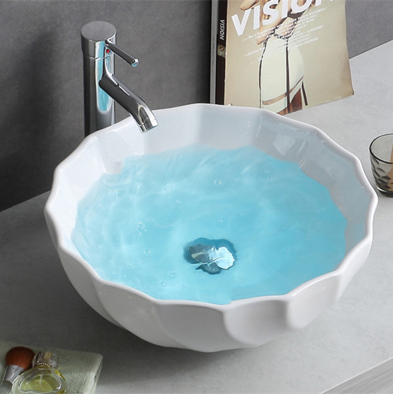 Bathroom white color ceramic table art basin