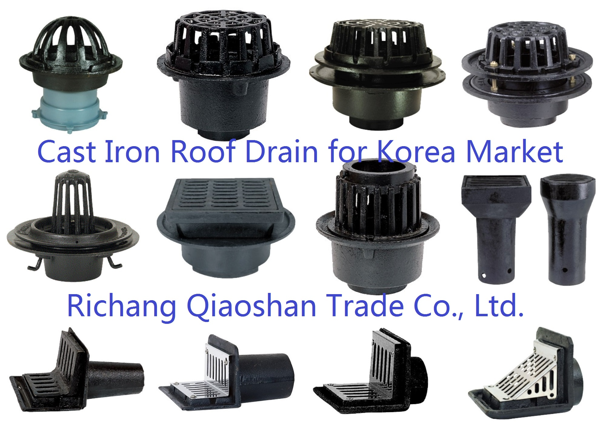RD-6100 RD6200 6300 6350 6360 6400 6500 6600 6610 5700 Korean Cast Iron Roof Drain for Roof Drainage
