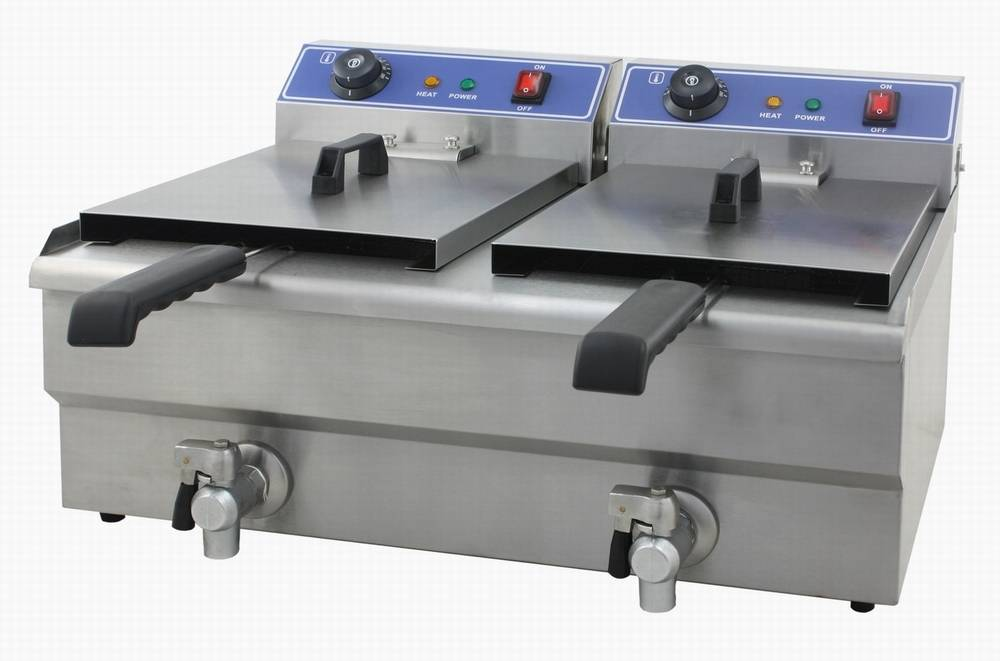 Electric Deep Fryer With Valve 2 tanks