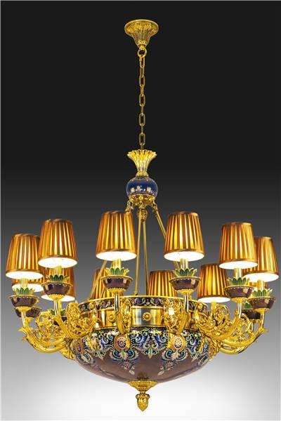 """""""Auspicious"""" Cloisonne Ceiling Lamp"""