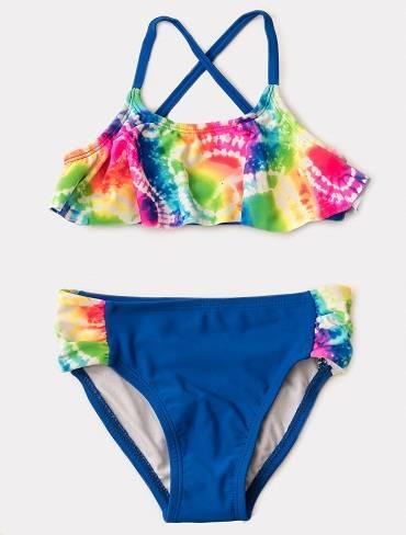 Girl's triangle bikini ruffle top tie dye swimsuits