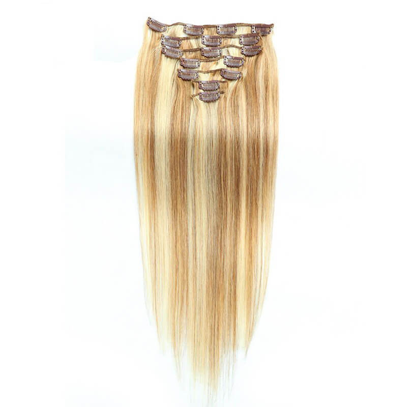 18 Inches Straight 120g Piano #8 #613 Clip In Hair Extensions