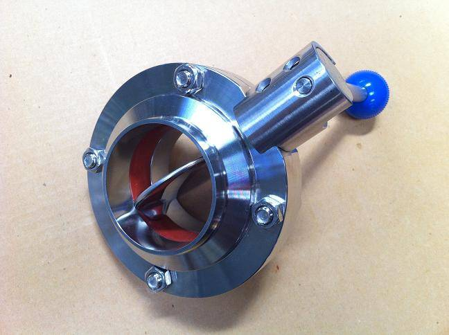 Sanitary stainless steel butterfly valve with weld