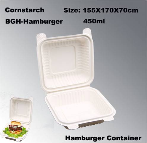 Eco-friendly Cornstarch Biodegradable Disposable Hamburger Box
