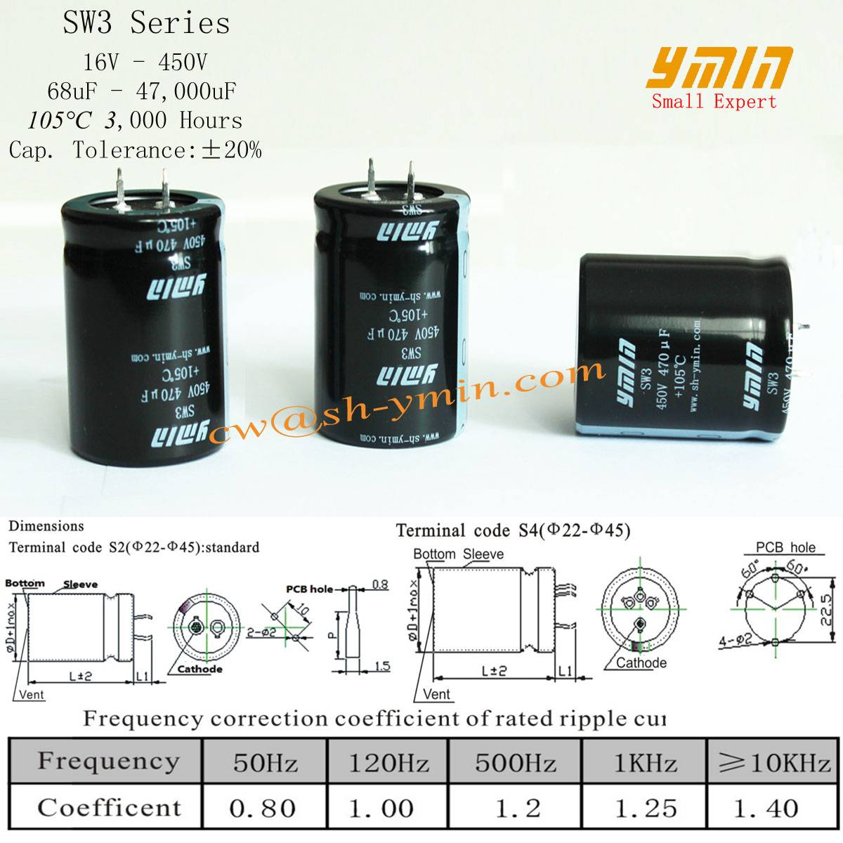 Power Inverter Capacitor Snap-in Electrolytic Capacitor for Wind Turbine Power Inverters