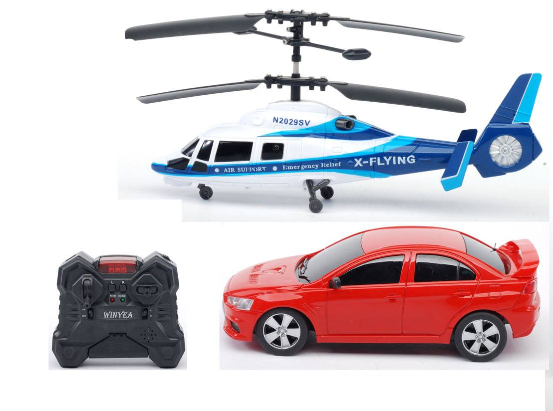 R/C 2 in 1 Group, RC Helicopter, RC Car in 1 Package