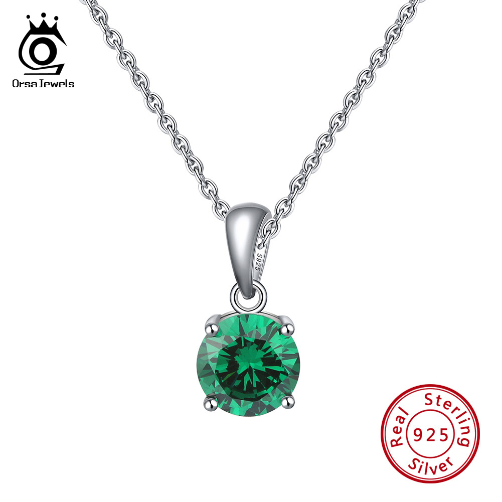Real S925 Sterling Silver Brithstone Necklace