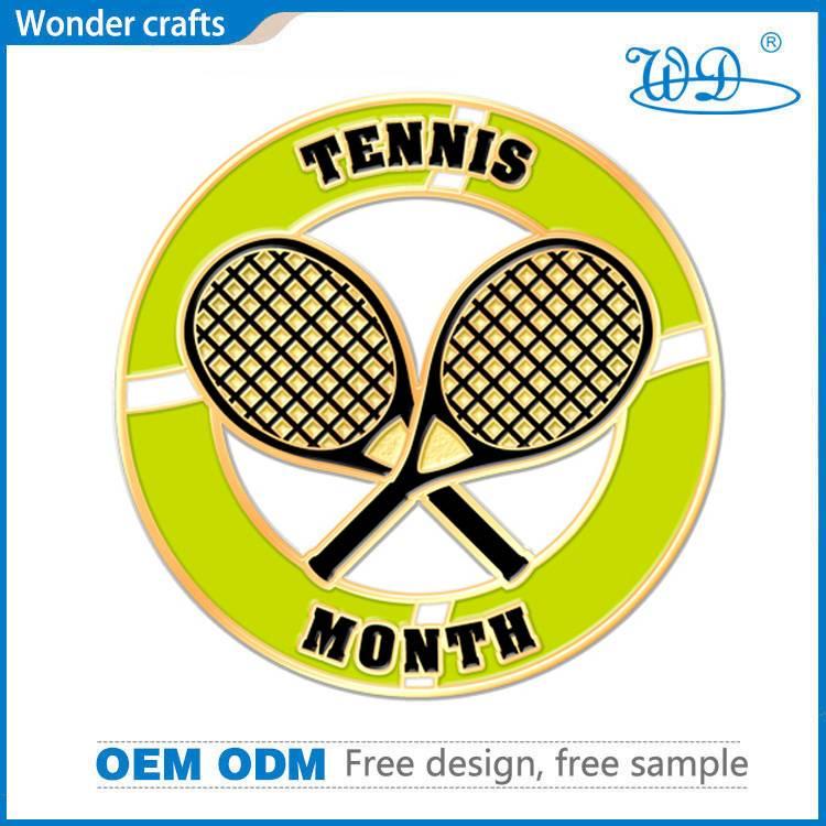 OEM custom design die stamping alloy imitational gold soft enamel tennis challenge coins