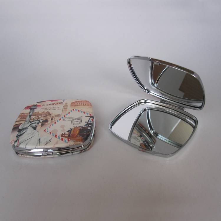 square shape metal pocket mirror with epoxy  logo fo promotional
