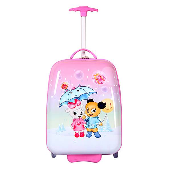 Pink SMJM Square Shape Girls Beauty Trolley Case,Pink Light Suitcases