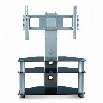 HSD-T-003,the new silver multistory shelfs lcd tv floor stand (with tempered glass,stainless steel t