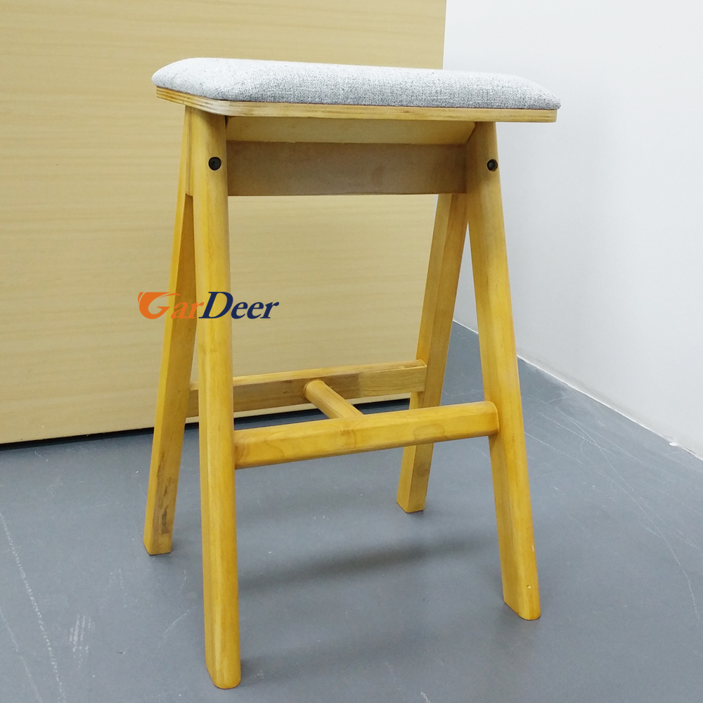 Good quality high yellow comfortable wood display stool for huawei store experience