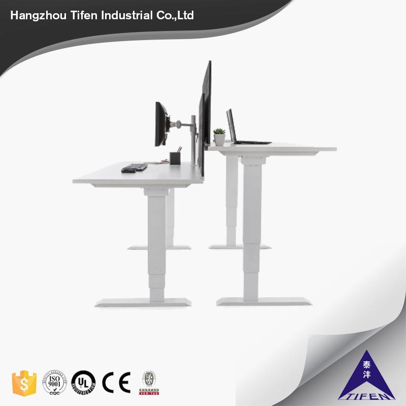 double table four legs adjustable desk frame