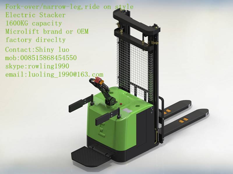 fork-over/narrow-leg Electric Stacker,1600KG capacity, Microlift brand or OEM, factory direclty,
