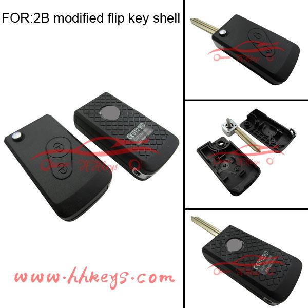 Citroen 2 Buttons Modified Flip Key Shell