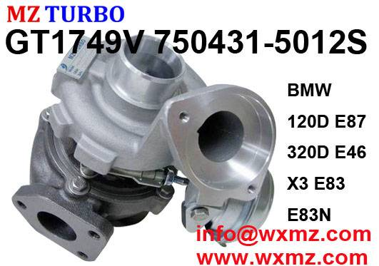 MZ TURBO Chinese Wholesale Garrett Turbine Turbocharger GT1749V 750431-5012S For BMW 120D 320D E46 5