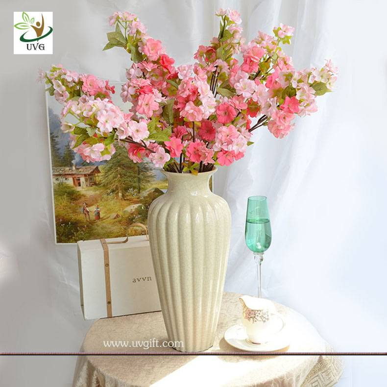 UVG CHR091 Pink artificial cherry blossom branch in silk flowers for wedding decoration
