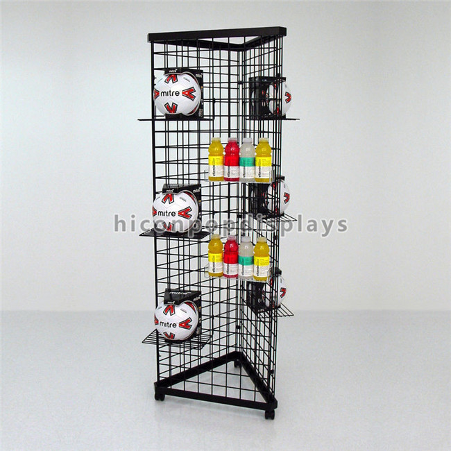 Grocery Store Black Metal Display Rack Wire Mesh Display Stand