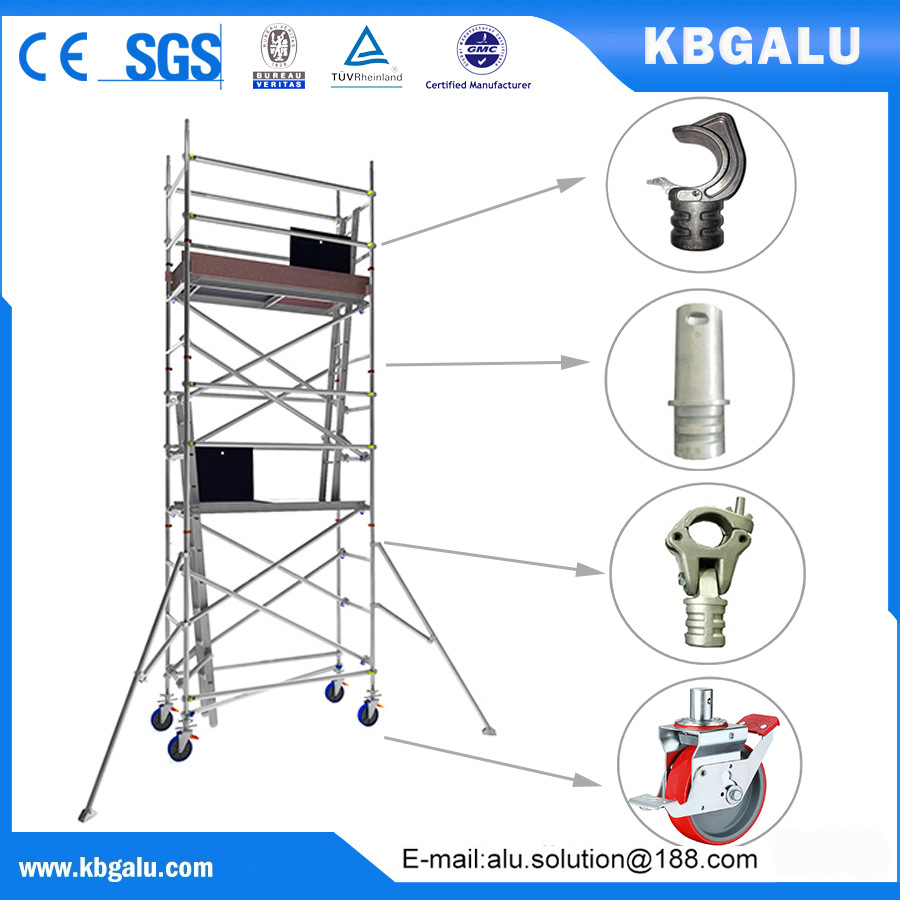single width aluminum scaffold tower with 4.0m standing height