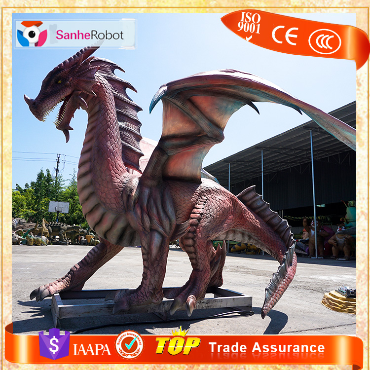 Exhibits Animated Artificial life-size animatronics dragon statues