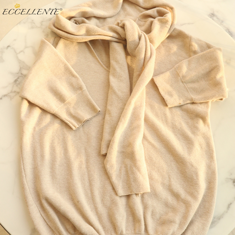 2021ss New Arrival Ladies off-White Two Fake Beige Knits
