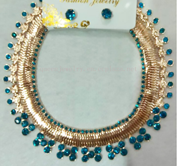 Crystal Rhinestones jewelry set gold plated Metal wedding necklace set royal blue necklace earring