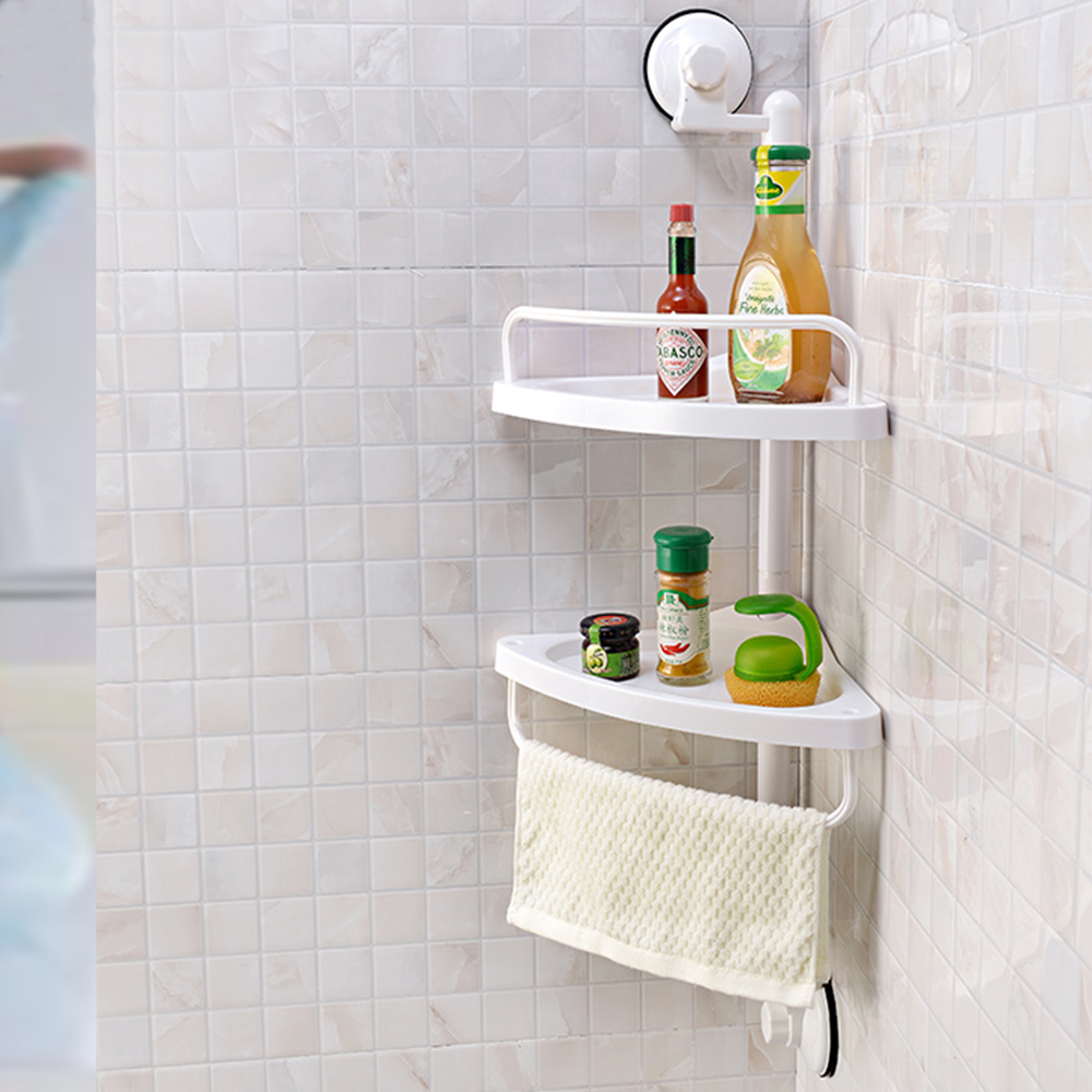 2 Layers Wall Mounted Plastic Bathroom Corner Rack Shelf